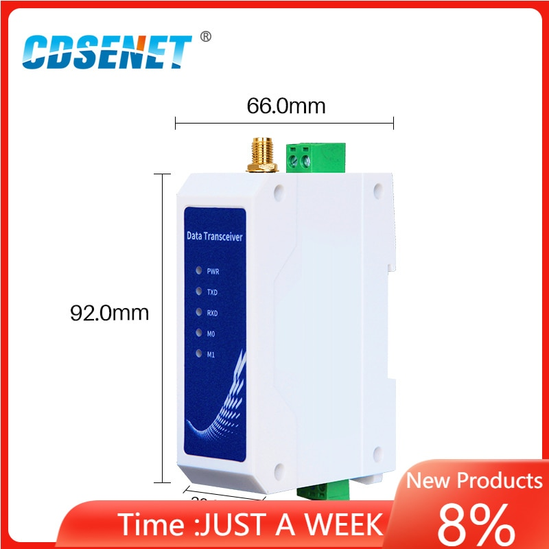 CDSENET LoRa Modem E95-DTU(400SL30P-232) Plus SX1268 410.125-493.125MHz 22dBm 5km Range 12V 24V RS485 Modbus Din Rail 433Mhz