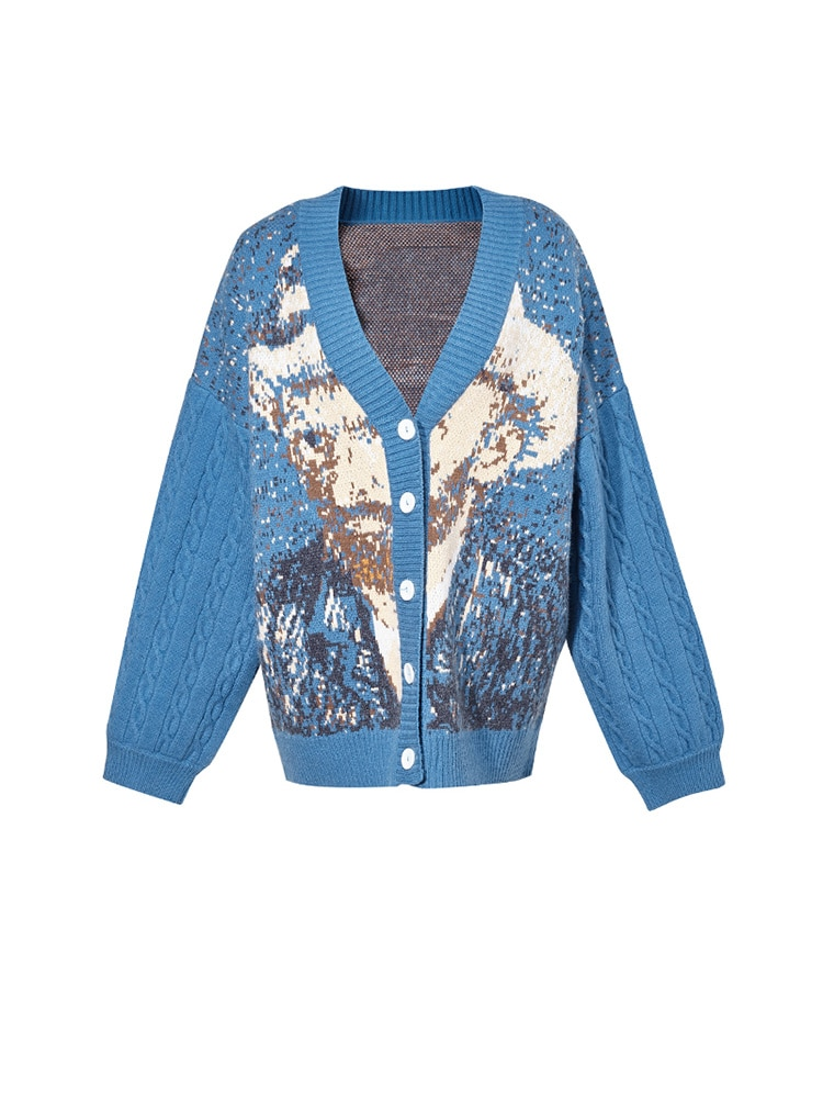 2021 Autumn Women Vintage Loose Artistic Hand Painted Sweater enlarge