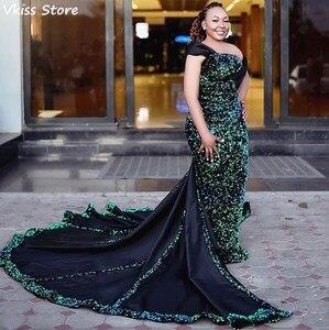 Evening Dress Sequin Mermaid Luxury Sweep Train Sleeveless Mermaid Boat neck Off Shoulder Green Prom Dressrobe de soiree 2020