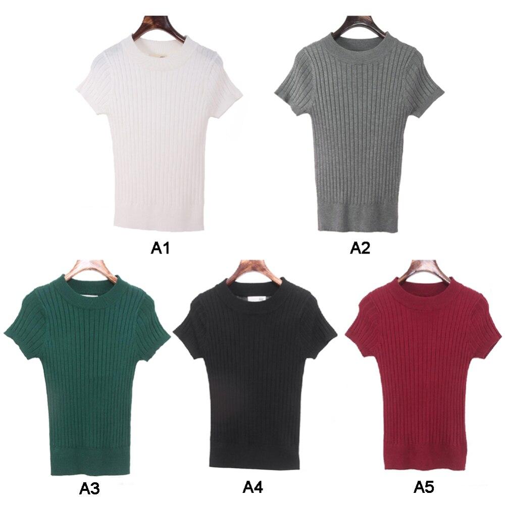 Tight-fitting Five-ponto Em Torno Do Pescoço Camisola de Manga Curta Mulheres T-shirt Magro