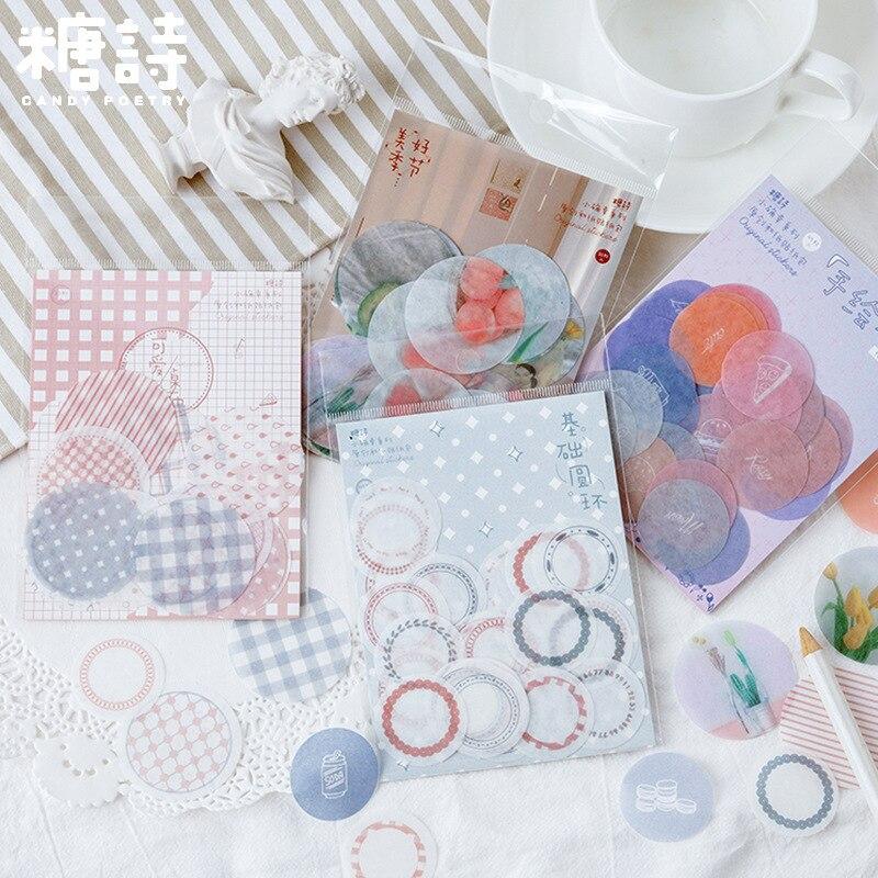 1 paquete de pegatinas pequeñas de la serie Lucky para sellar fotos, pegatinas bonitas redondas básicas DIY, pegatinas de decoración de diario para álbum de recortes