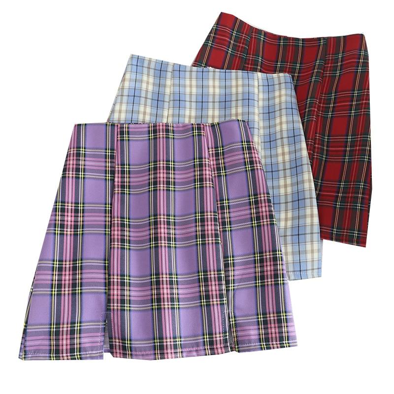 Fashion Summer Women Skirts High Waist Chic Ladies Mini Skirt Vintage Plaid Short Skirts Slim Waist A-Line Women's Mini Skirt