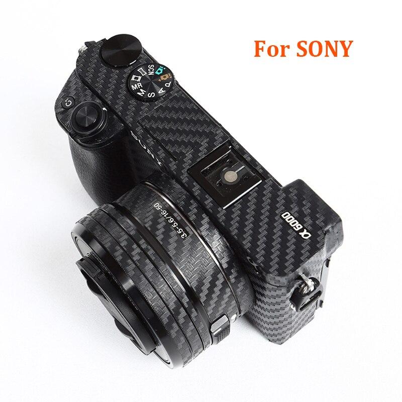 Kit de película de fibra de carbono Cuerpo de Cámara antiarañazos para Sony A6000 a6100 a6300 a6400 a6500 A6600 pegatina protectora 3M para Decoración