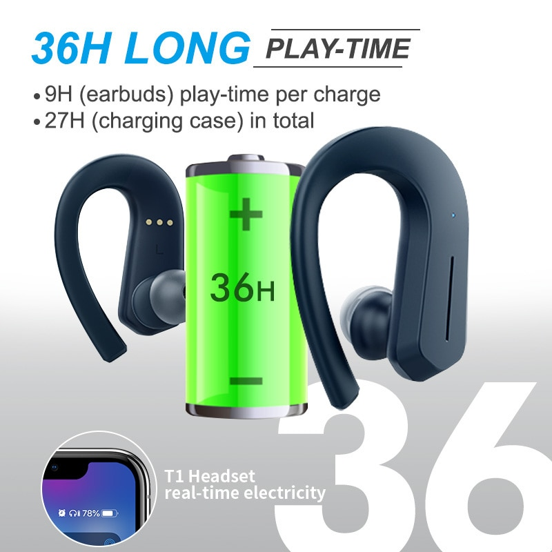 T1 Bluetooth Headphones Sport 9D Stereo Hifi Bt V5.0 Wireless headphones IPX7 Waterproof 36Hrs Play-Time Touch Control enlarge