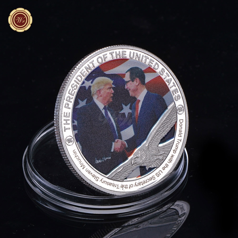 WR Home Accessory American Coin Collection Gifts Silver Coin Donald Trump and The US Vice President Mike Unique Metal Coin