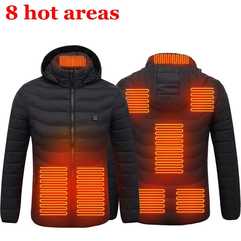 Smart Heated Jackets Autumn Winter Warm Flexible Thermal Hooded Jackets Usb Electric Heated Outdoor Vest Coat High Quality