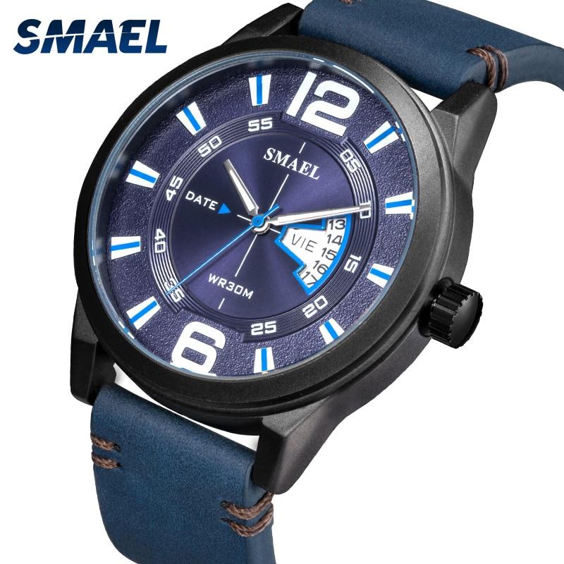 SMAEL Men Watches Casual Brand Man Leather Sports Quartz Wristwatches Men's Led Clock Ilfe Waterproof Military Wrist Watch