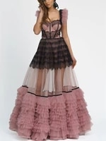 pink lace tulle formal prom dresses see thru custom made floor length ruffles pleated women party gowns backless lace up