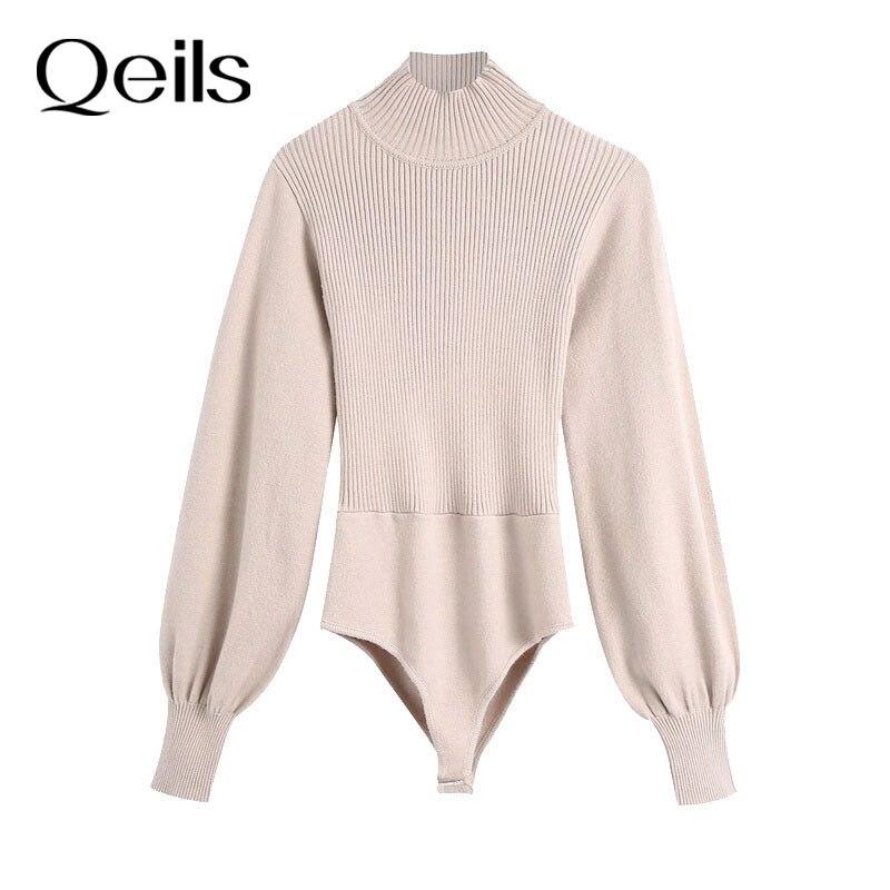 Женские трикотажные боди Qeils с открытой спиной, на пуговицах, винтажные комбинезоны с высоким воротником и рукавами-фонариками, женские комбинезоны, шикарные топы, 2021