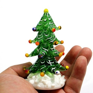 Miniature Murano Glass Christmas Tree Figurines Home Tabletop Decoration Craft Ornaments Xmas Festival Party Toys Gifts For Kids