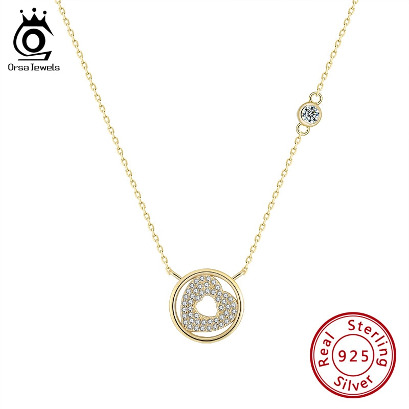ORSA JEWELS Plata de Ley 925 auténtica collar de corazón Vintage para mujer AAAA, collar Enchapado en plata con circonita dorada, joyería SN235