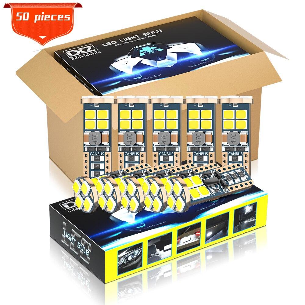 DXZ 50 Uds Canbus W5W T10 bombillas LED 12-SMD 168 194 6500K 12V/24V blancas para Interior del vehículo mapa Domo Luz de liquidación Luz de Auto lámpara