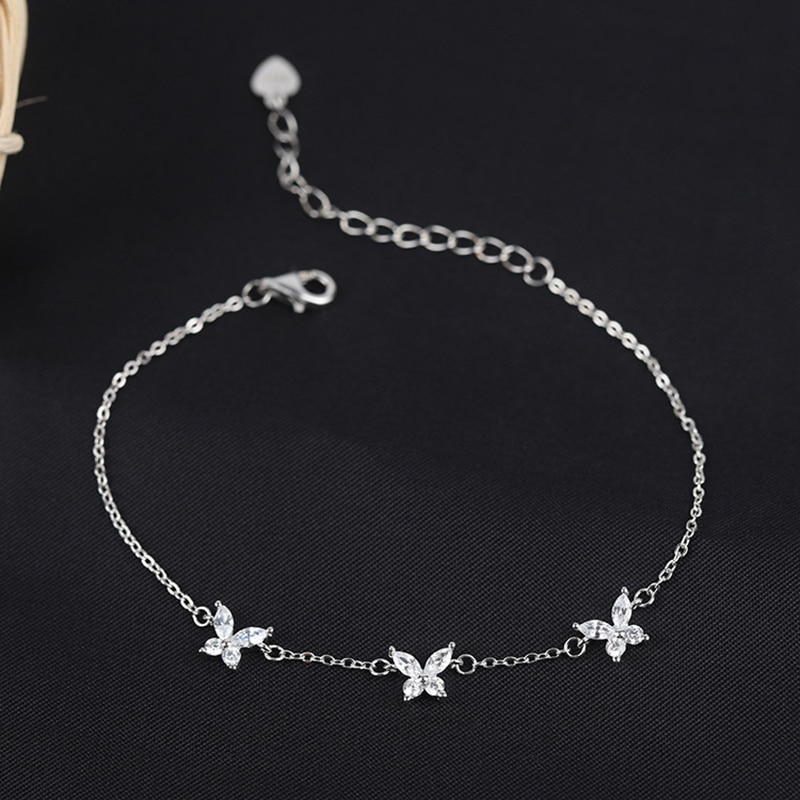LISM  Silver Color Bracelet Jewelry New Korean Simple Wild Sparkling Butterfly For Student Women Birthday Gifts