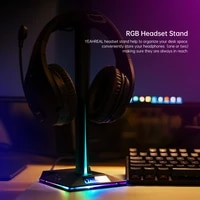 7 1 surround headphone stand rgb gaming headset standard holder with hook and 2 usb ports for pc display support desk black