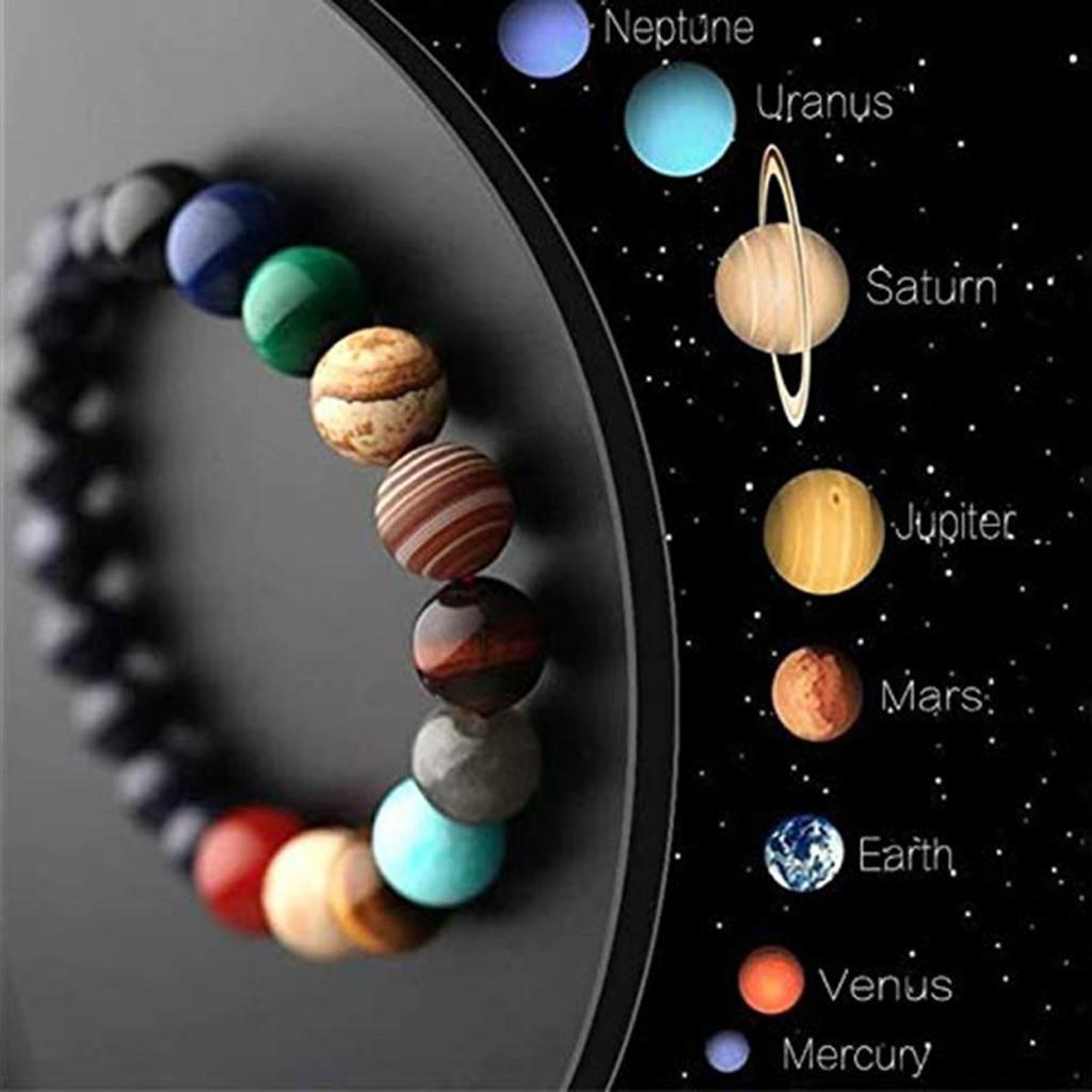 Bracelet à perles en pierre naturelle pour femmes, élégant, sauvage, système solaire, thème huit planètes, haute qualité, 30H