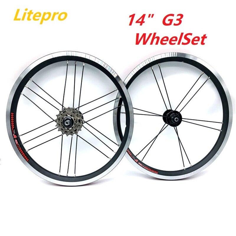 Litepro K-כיף 14 אינץ 412 מתקפל אופני G3 זוג גלגלי 3 מהירות Freewheel רכזת 74/85mm 4 bearing גלגל סט מתקפל אופניים חישוקים חלקי