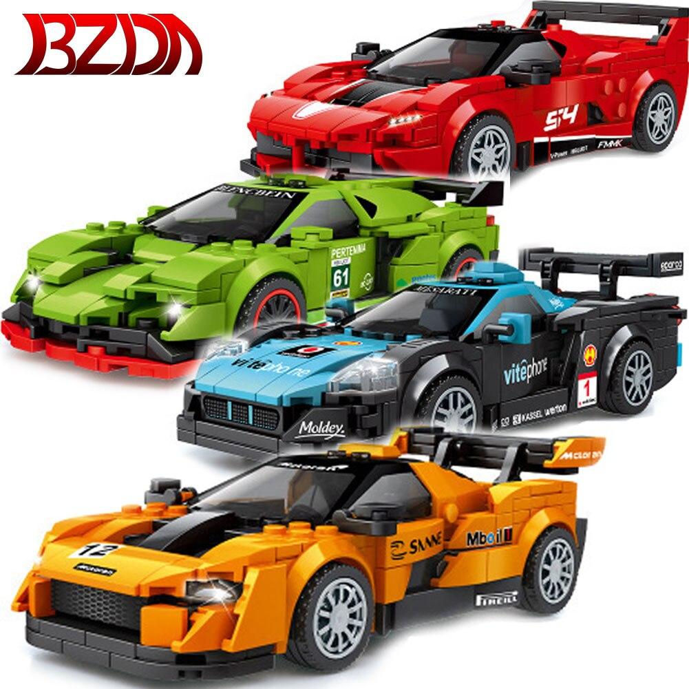 BZDA Stadt Technik Auto Spielzeug Modell Bausteine Geschwindigkeit Champion Racing MOC Architektur Ziegel Jungen Spielzeug Für Weihnachten Geschenke