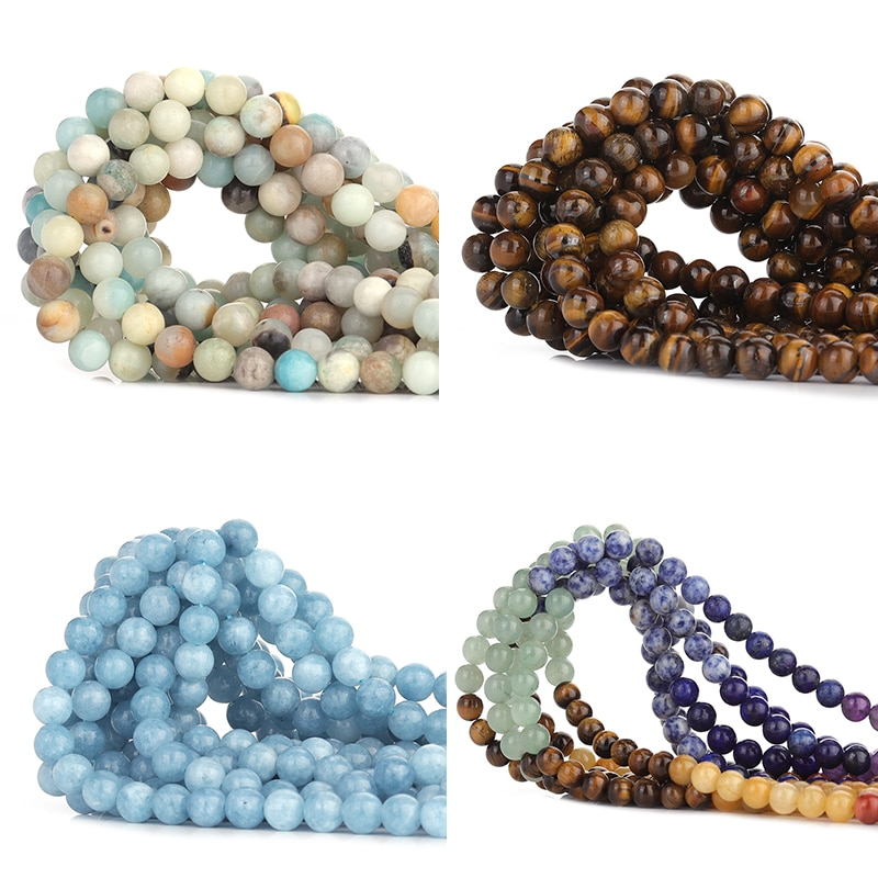 60pcs Natural Stone Beads Tiger Eye Amazonite Agates Angelite Quartz Lava Loose For Jewelry Making DIY Bracelet