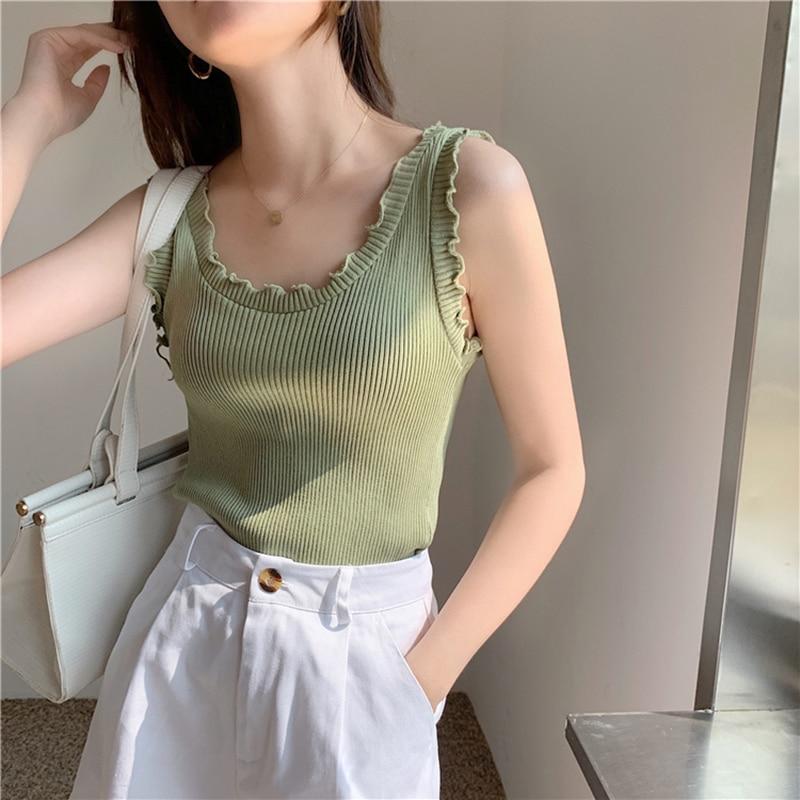 CMAZ Ruffled Slim Knitted Vest Women's 2021 Summer Outer Wear Hot Girl Sexy Tank Tops Soild Sleevele