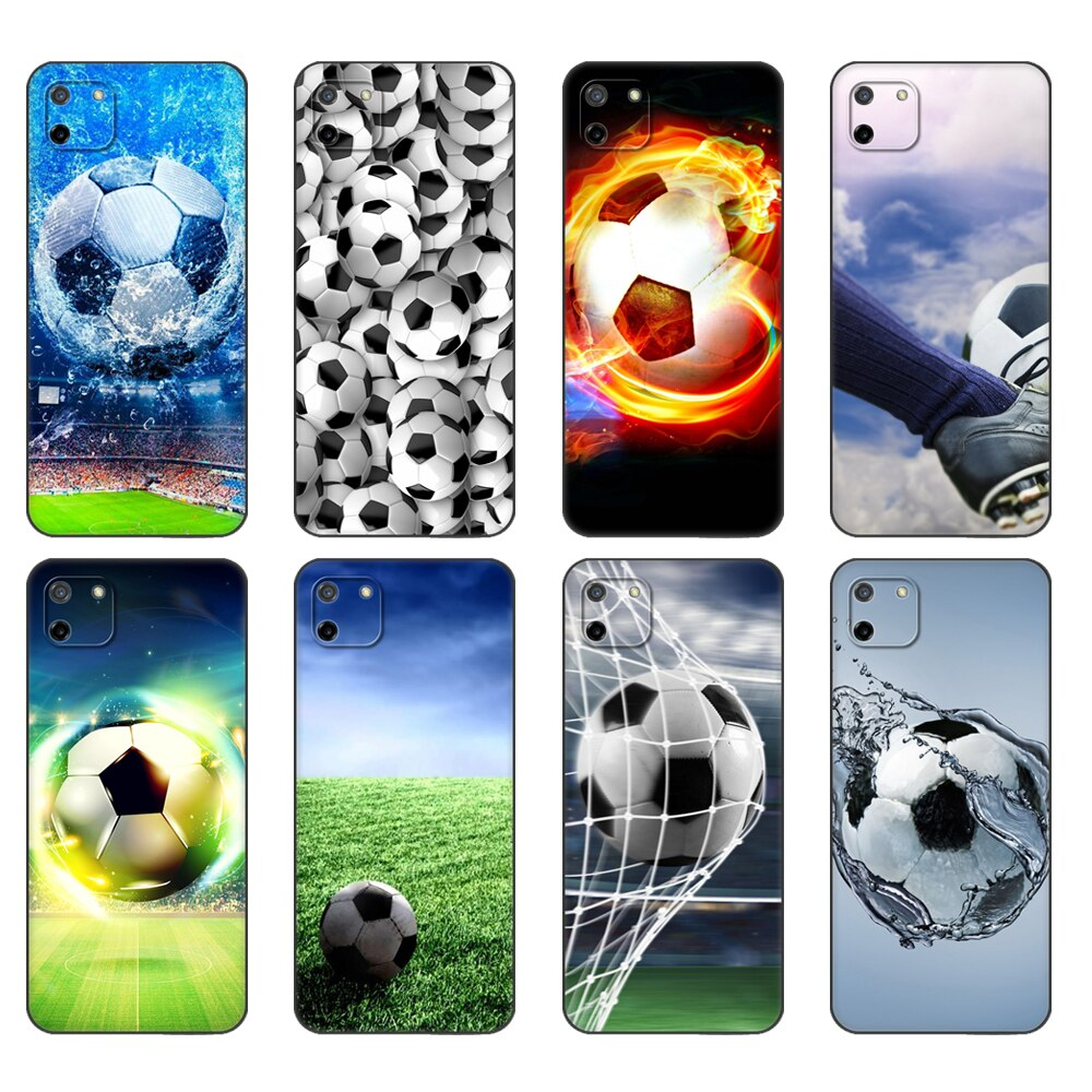 Preto tpu caso para oppo realme c11 caso para realme c 11 realmec11 volta rmx2185 caso capa amortecedor futebol bola de silicone