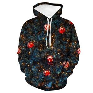 Unisex Christmas Trees Glowing Ball 3D Digital Print Loose Hooded Sweater Pullover Women Men Xmas Baseball Sweatshirt Hoodie