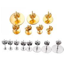 20-100 pcs/lot 3-12mm en acier inoxydable blanc poste boucle doreille goujon broches de Base avec boucle doreille Plug fournitures pour la fabrication de bijoux bricolage