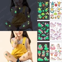 temporary tattoos for boys girls children small face colored baby luminous cartoon dwarf forest glowing arm leg flash fake tatto