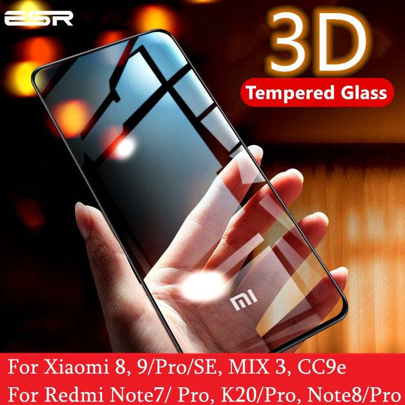 ESR מסך מגן עבור שיאו mi Mi 8 9 פרו SE CC9e 3D מלא כיסוי להגן אנטי כחול-ray מזג זכוכית עבור אדום mi הערה 7 8 K20 פרו
