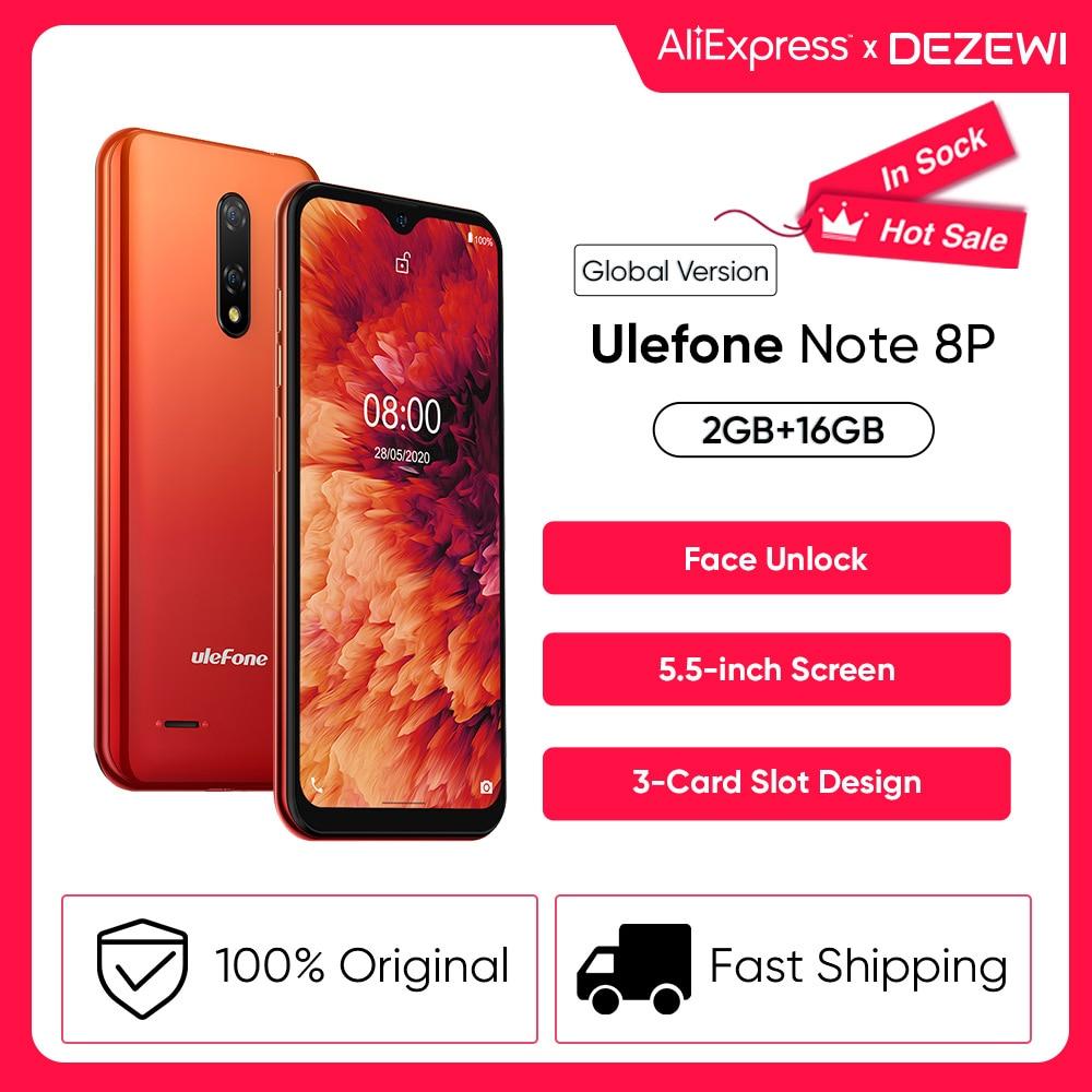 Чехол-накладка Ulefone Note 8P дешевле Смартфон Android 10 4G сотовый телефон в виде капли воды, Экран 4 ядра 2 ГБ + 16 Гб 5,5 дюйма Дисплей 8MP Камера