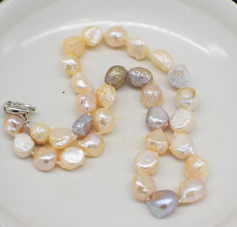 Perla de agua dulce baroue multicolor 9-13mm collar 17 pulgadas naturaleza FPPJ para regalo de mujer