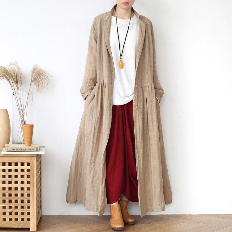 2020 جديد اليابان نمط خندق معطف المرأة القطن و الكتان معاطف طويلة الصلبة فضفاضة الأكمام المتضخم الخريف معطف أبلى غير رسمي