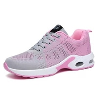 women running shoes pink grey breathable comfortable fly soft knit classic light weight sneakers
