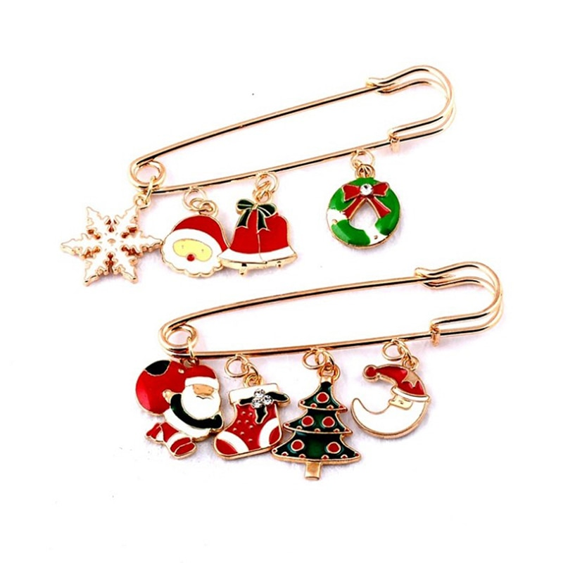 Rhinestone Snowflake Gloves Crystal Pearl Tassel Pendant Brooch Christmas Pin Gift Santa Shoes Carriage