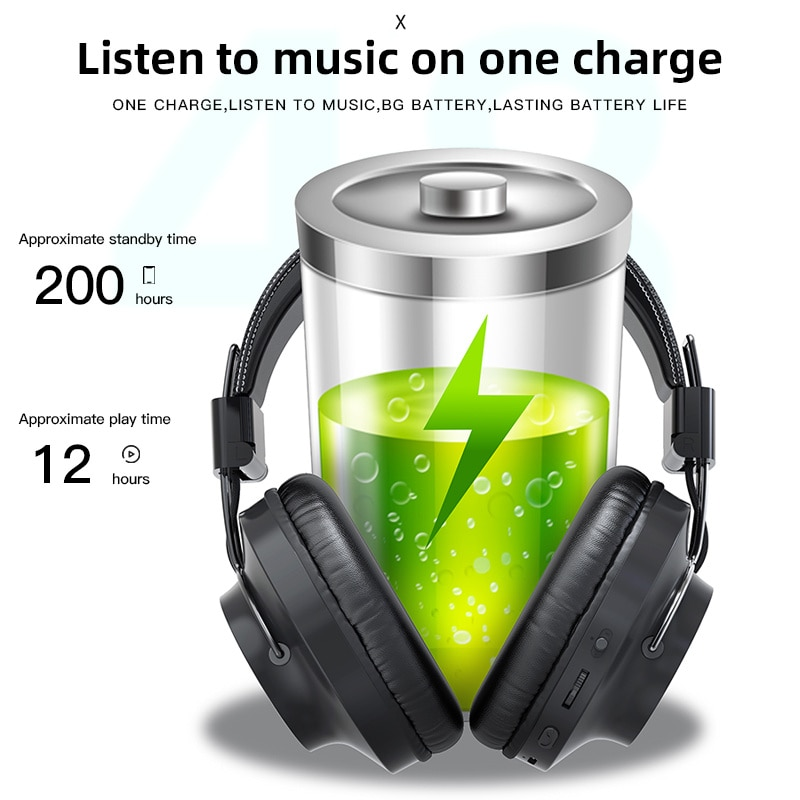 Comfortable Fullcover Wireless Headphones Foldable EQ Adjust Stereo Earphones Bluetooth 5.0 Headset Support Mic TF Card FM Radio enlarge
