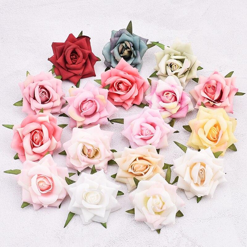 30 pçs 6cm artificial selvagem rosa de seda cabeças de flores para decoração de casamento diy grinalda caixa de presente scrapbooking artesanato flores falsas