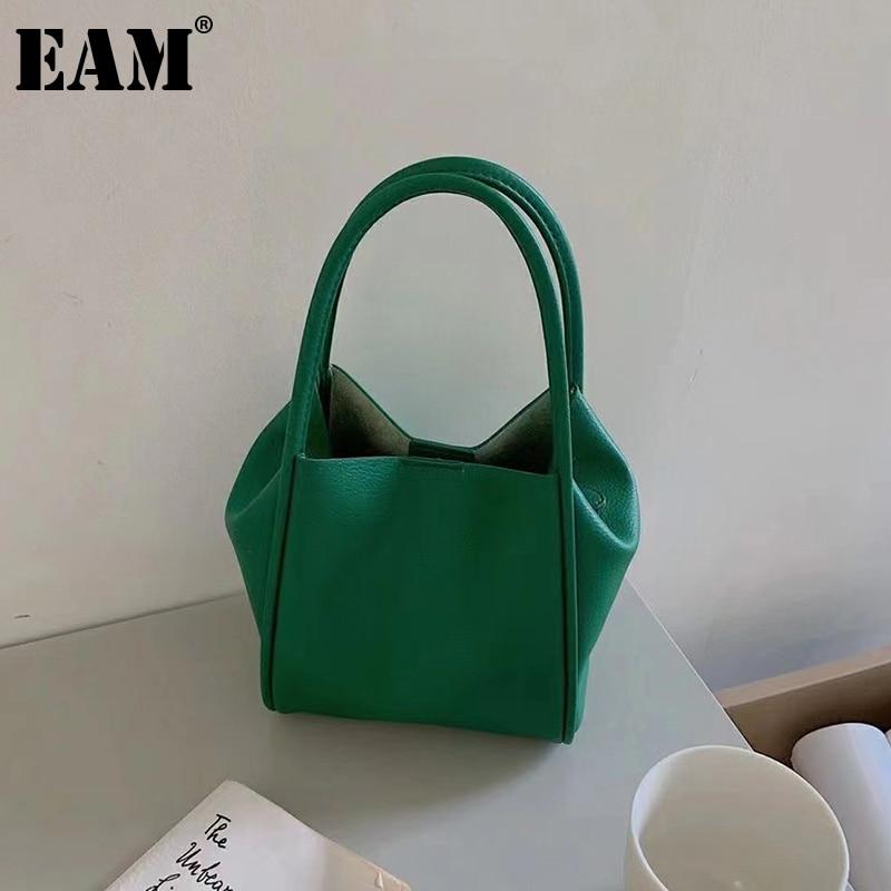 [EAM] حقيبة يد نسائية صغيرة بسيطة جديدة حقيبة يد لينة بو الجلود شخصية جميع مباراة مقبض حقيبة الموضة المد 2021 18A3733