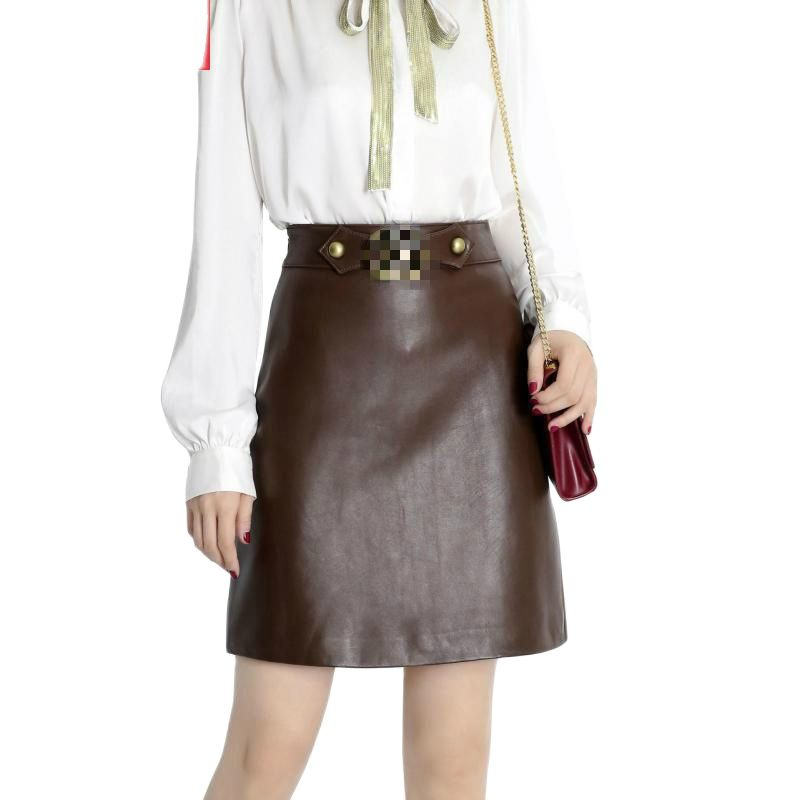 Autumn Coffee Real Sheep Skin Genuine Leather Wrap Skirt High Waisted Midi Skirts Womens Party Sexy Long Office Ladies Skirts