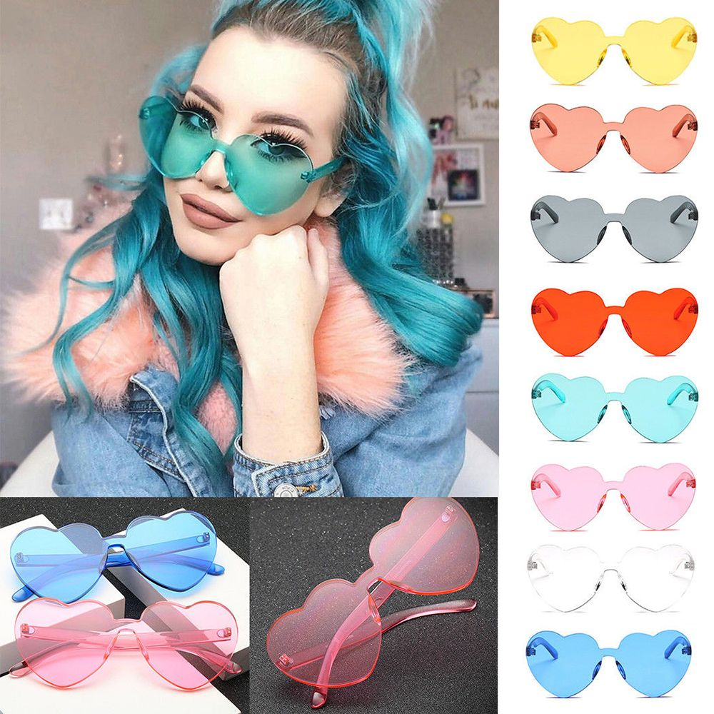 Love Heart Shape Sunglasses Women Rimless Frame Tint Clear Lens Colorful Sun Glasses Female Red Pink Yellow Shades Travel outdoor full frame flat lens sun shades sunglasses