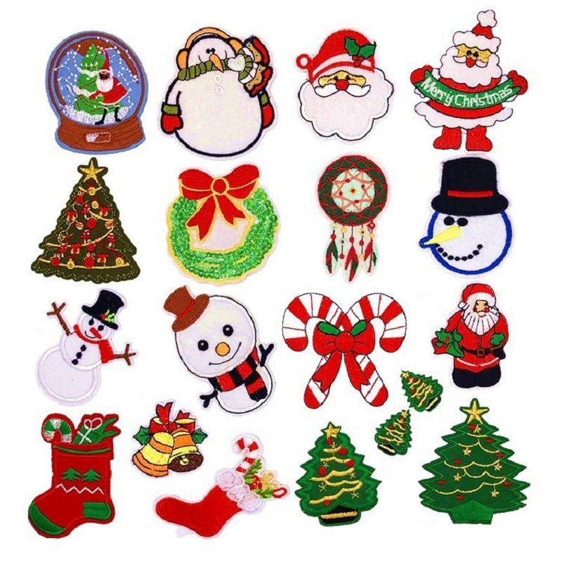 Christmas  snowman tree Series For Clothes Iron on Embroidered Patches For Hat Jeans Sticker Sew-on DIY Ironing Patch Applique