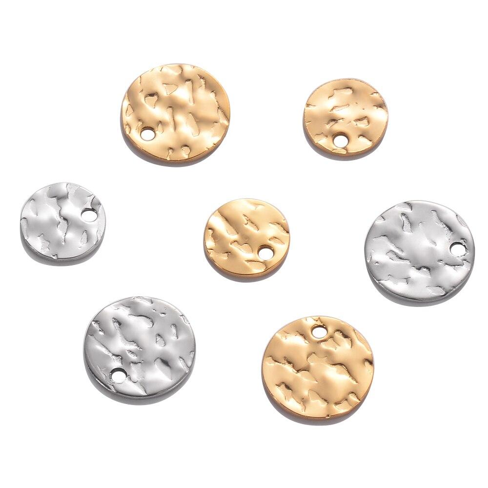 50 unids/lote de acero inoxidable redondo de moda amuleto pequeño etiqueta pulsera...