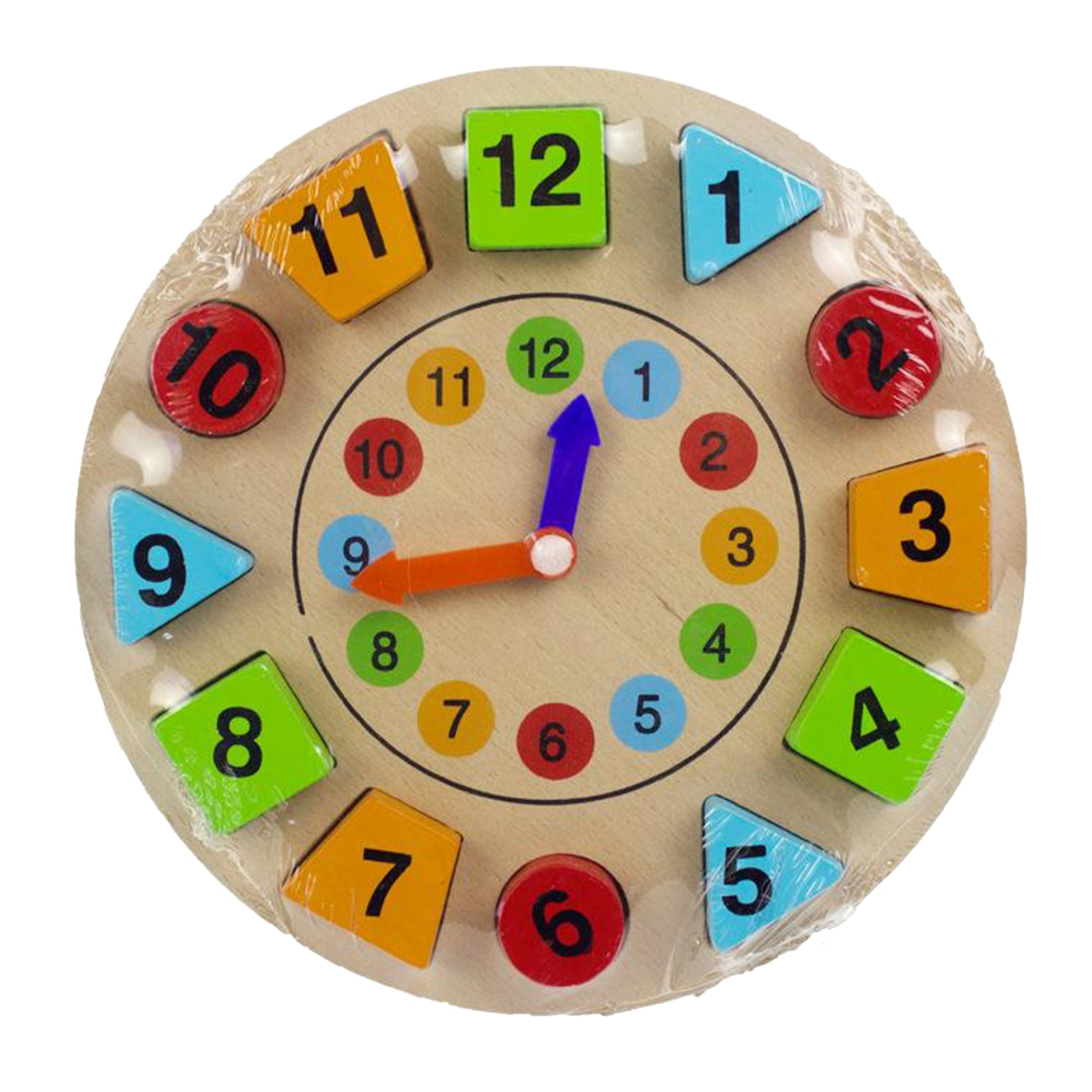 Wood Shape Color Sorting Clock Jigsaw Sorting Clock Toy for Toddler