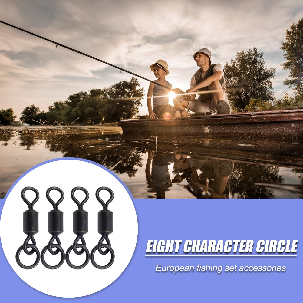 20 piezas gancho de pesca de carpa negra personaje círculo acero duradero Micro giratorio con anillo para pesca con caña aparejo electrodoméstico