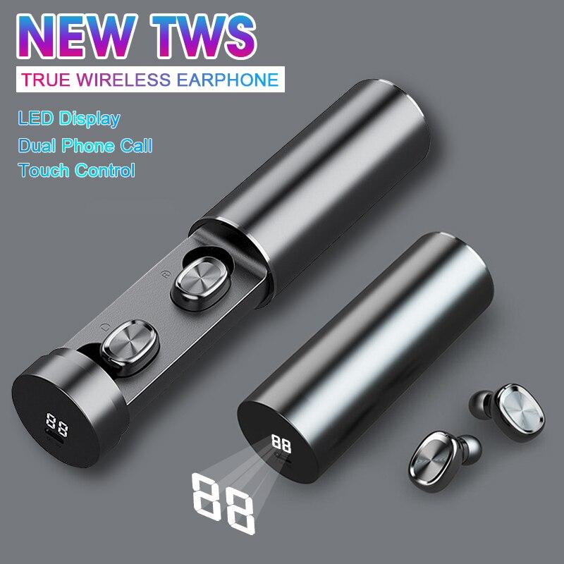 Auriculares inalámbricos de extracción BF9 con Bluetooth táctil, Auriculares deportivos resistentes al agua, auriculares con cancelación de ruido inteligente y potencia LED