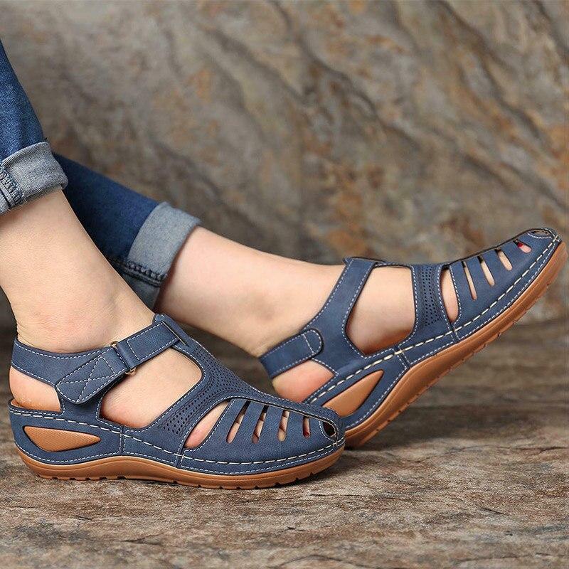 Sandálias de Verão Cunha do Vintage Mulher Sandálias Casual Costura Sapatos Femininos Senhoras Plataforma Retro Sandalias Mais Tamanho