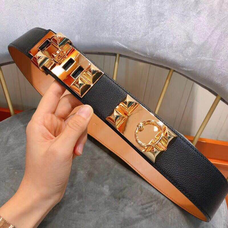 High Quality Leather Belt Women With Golden Lock Decoration 4.5 CM Wide Cummerbund Fashion Apparel Accessory Waist Belt