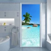 self adhesive waterproof door sticker 3d sea landscape mural wallpaper living room bathroom vinyl door poster modern wall decals