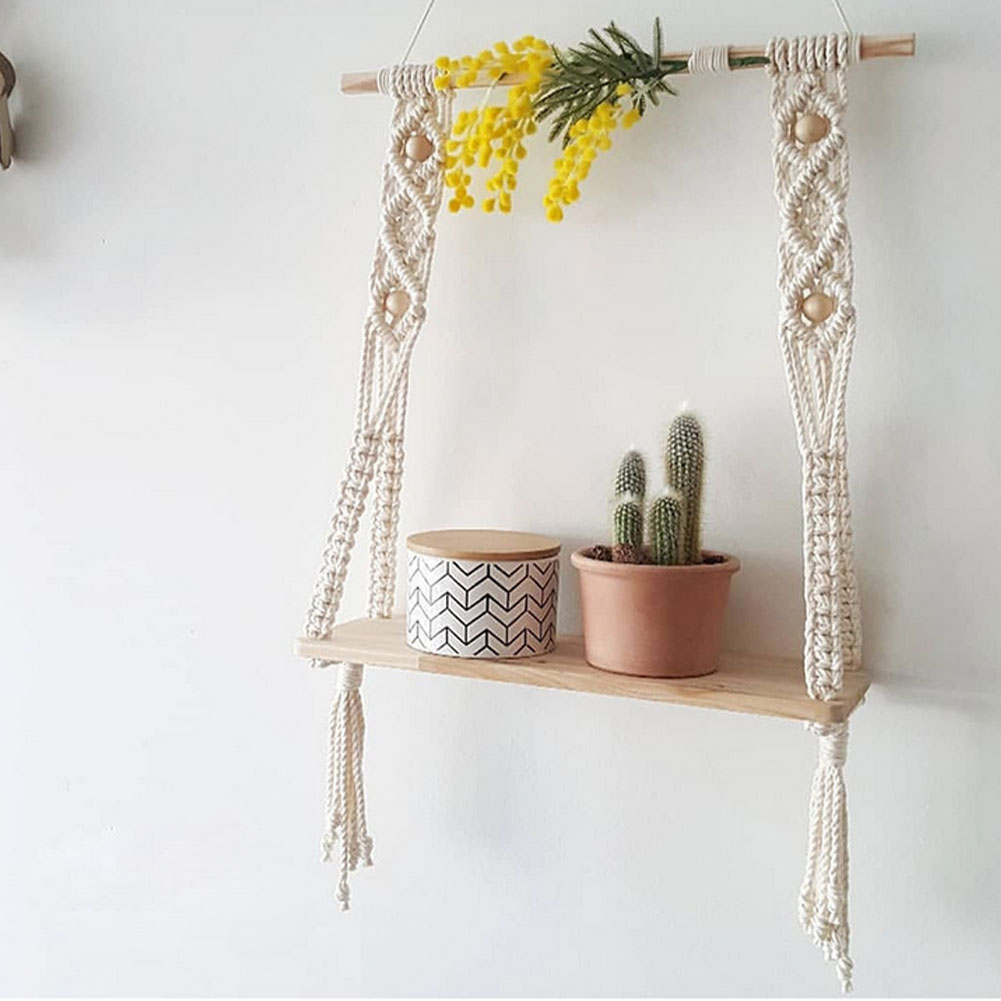 Wall Hanging Shelf Rustic Wooden Farmhouse Shelves Hand-Woven Macrame Tapestries with Rope for Living Room Deoration