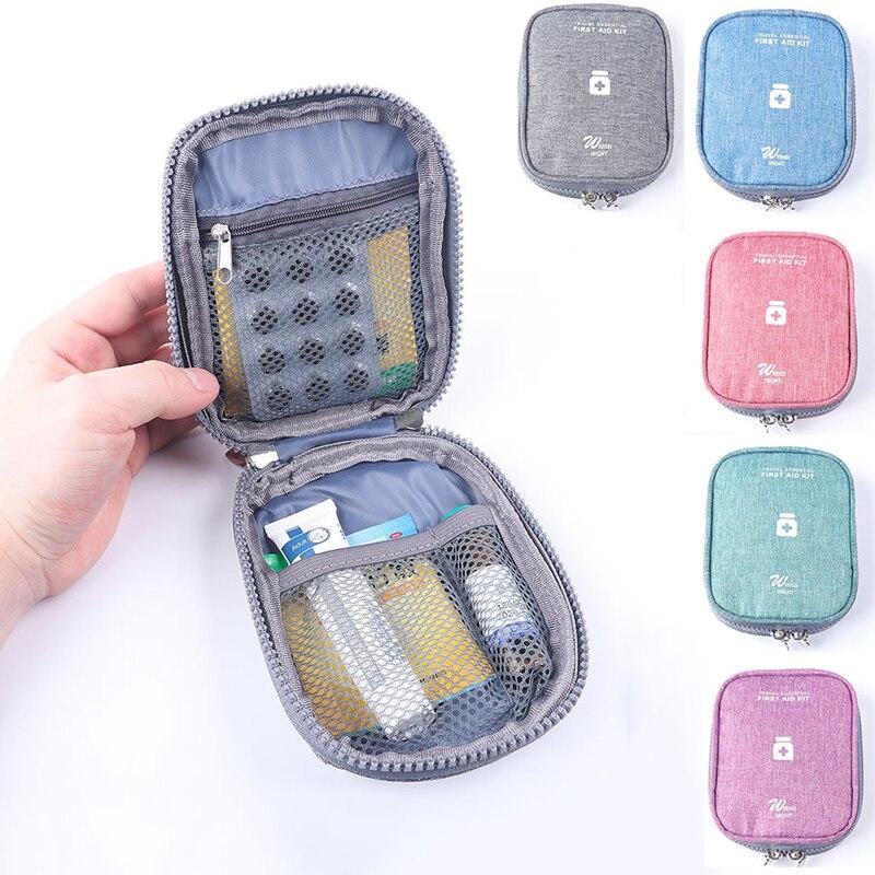 Viaje pequeño Kit de primeros auxilios bolsa organizadora para divisores de píldoras Paquete de almacenamiento portátil medicamentos de emergencia medicina caja de bolsa