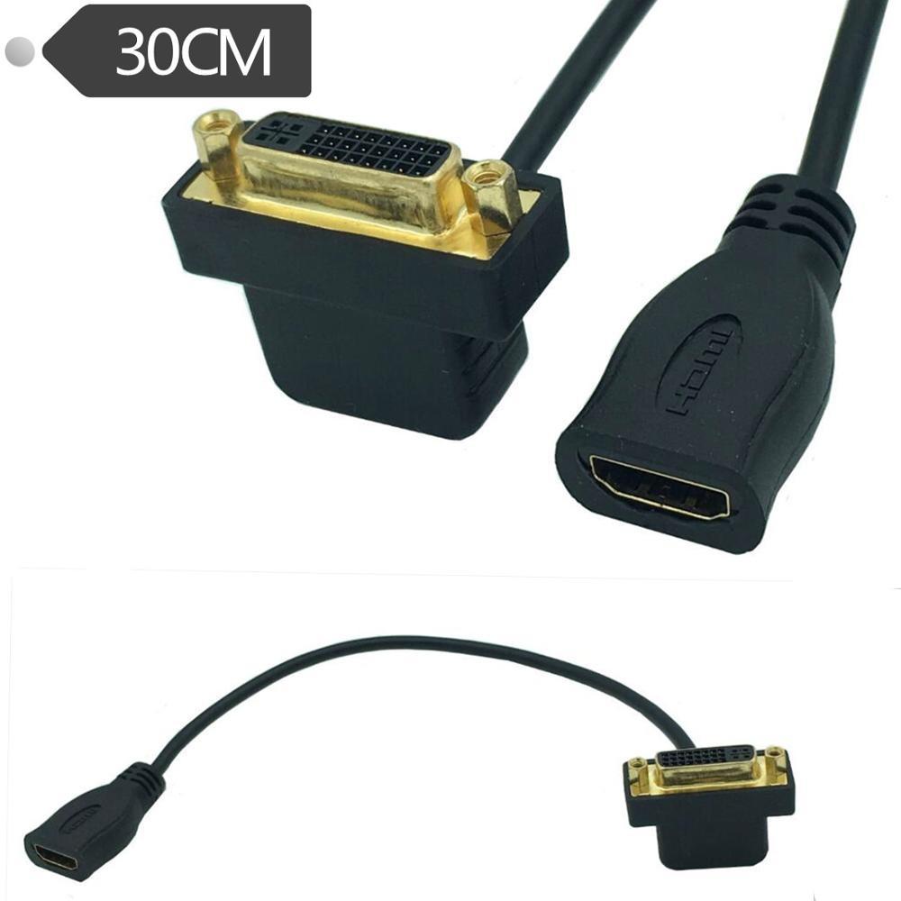Alta Velocidad HDMI hembra a DVI 24 + 5 hembra 90 abajo en ángulo DVI Cable adaptador para proyector Laptop TV 30cm
