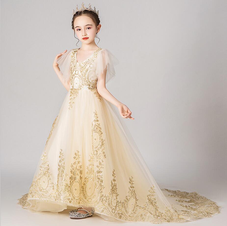 طويلة زائدة فتاة فستان الزفاف الذهبي الترتر تول الأميرة زهرة زي تنكري لفتاة التطريز الأطفال حفلة أول مناولة ثوب